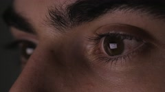 4K Closeup Screen Reflection in Eyes of a Man.mp4 Stock Footage