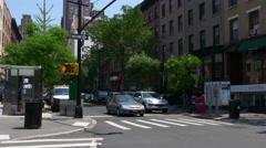 Summer day brooklyn heights traffic crossroad panorama 4k usa Stock Footage