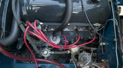 The engine from the old vintage car Stock Footage