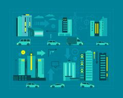 Cars in the city. Metropolis street on blue background scheme business graphic Stock Illustration