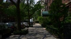 New york brooklyn heights apartment street view panorama 4k usa Stock Footage