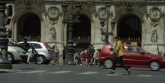 Pedestrians in front of National Academy of Music in Paris France Stock Footage