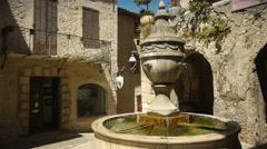 Historic fountain at Saint Paul de Vence, South France Stock Footage
