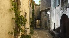 Historic streets in little village Saint Paul de Vence, South France Stock Footage