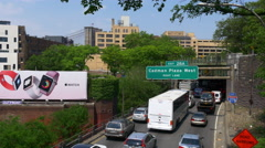 Summer day new york brooklyn bay traffic tunnel panorama 4k usa Stock Footage