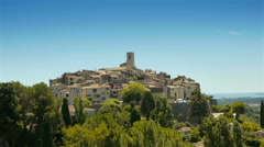 Panorama of medieval Tourrettes sur Loup, South France Stock Footage