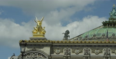 National Academy of Music in Paris France - gold statue on the roof Stock Footage