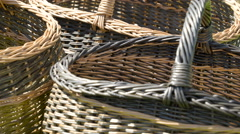 A woven basket on the grass lawn Stock Footage