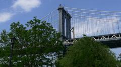 Summer new york famous manhattan bridge top dumbo panorama 4k usa Stock Footage