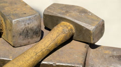 An old hammer on display outside Stock Footage