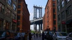 New york brooklyn dumbo famous manhattan bridge street view 4k usa Stock Footage