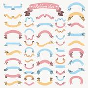 Vector Colorful Hand Drawn Ribbons, Banners Set Stock Illustration