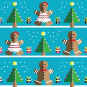 Geometric xmas pattern with ginger bread man - stock illustration