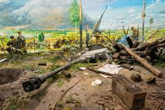 Diorama depicting the defeat of Nazi troops in Belarus. Belarusian Museum Stock Photos