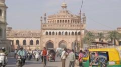 Rumi Darwaza gate with traffic,Lucknow,India Stock Footage