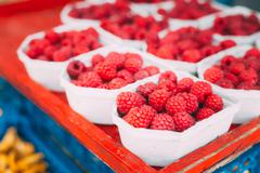 Yummy Red Berries Raspberries At Market In Trays Stock Photos