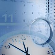 Clocks, calendar pages and diary - stock photo