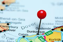 Dunkerque pinned on a map of France Stock Photos
