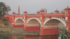 Hardinge bridge over Gomti river,Lucknow,India Stock Footage