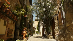 Medieval small street at Tourrettes sur Loup, South France Stock Footage