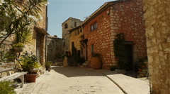 Romantic small street at Tourrettes sur Loup, South France Stock Footage