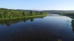River and forest in summer day. Ural. Aerial view Stock Footage