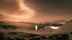 Starry night on the Kola Peninsula. Teriberka, Murmansk region, Russia. Full HD Stock Footage