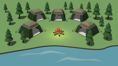 Creation of camping on the coast. Cartoon Stock Footage
