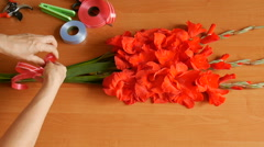 Bouquet composition of gladioluses. Stock Footage