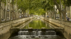 River to Jardin des Fontains, Nimes France Stock Footage