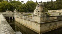 Park with Fountains, Nimes France Stock Footage