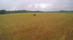 The wide field with the agriliming truck Stock Footage