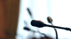 Empty Conference Hall For Talks of Elite Level. Focusing on the Microphone. Stock Footage