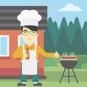 Man cooking meat on gas barbecue grill - stock illustration