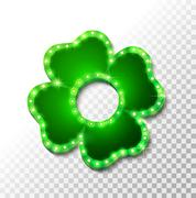 Shine lucky clover with shadow on abstract background for your design Stock Illustration