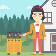Woman cooking meat on gas barbecue grill Stock Illustration