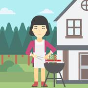 Woman cooking meat on barbecue grill - stock illustration