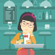 Woman drinking at the bar vector illustration - stock illustration