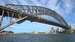 4k moving shot of Sydney Harbour Bridge and CBD Stock Footage