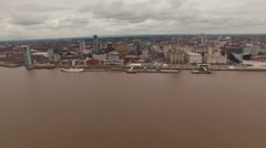 Liverpool sea front Aerial View, panning motion Stock Footage