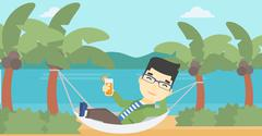 Man chilling in hammock with cocktail Stock Illustration