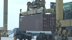 Container Box Loading At The Truck Stock Footage