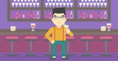 Man drinking orange cocktail at the bar Stock Illustration