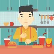 Satisfied man eating fast food - stock illustration