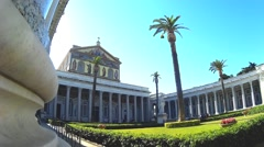 St. Paul basilica in Rome external view Stock Footage