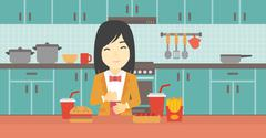 Satisfied woman eating fast food - stock illustration