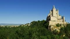 Alcazar Castle in Segovia, Spain Stock Footage