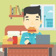 Man eating hamburger vector illustration Stock Illustration