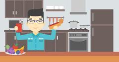Man eating fast food vector illustration Piirros