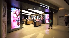 M-A-C Cosmetics store in Hong Kong mall. Stock Footage